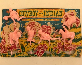 1950's Plastic Cowboy and Indian Candle Holders on Litho Card Stock