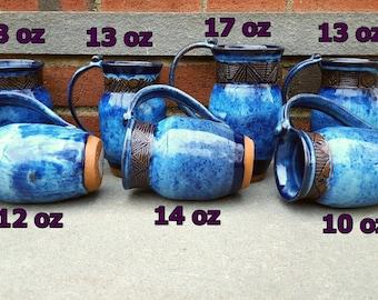 Pottery Mug, Carved Pottery Mug, Blue