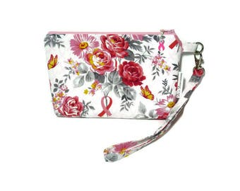 Breast Cancer Awareness Wrisitlet, Flower Bouquet with Pink Ribbon Wristlet Bag, Wristlet Purse