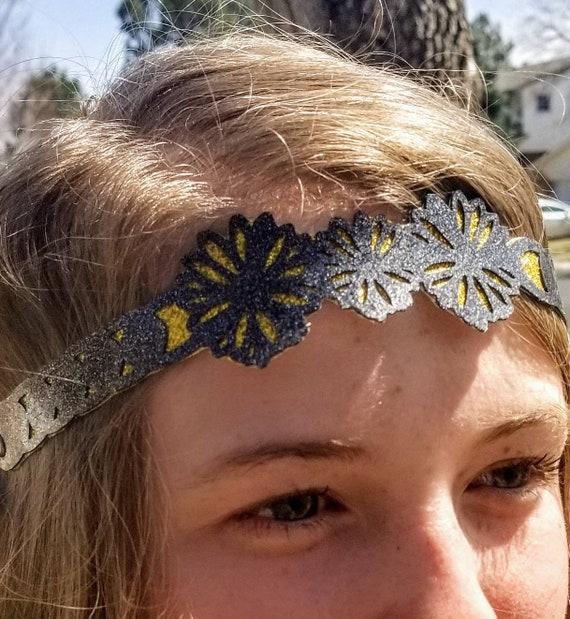 Sparkle Vinyl Headband - Golden Blossoms