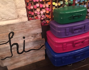 vintage suitcases stack of four in your colors or these as shown