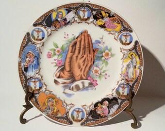 "Huge 10.25"" Vintage Praying Hands & Depictions of Jesus Christ Decorative Collector's Plate"
