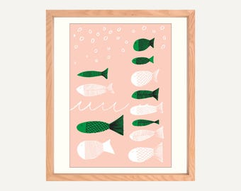 "Fish A4/8x10"" Art Print on Canvas Paper. Original illustration. Made in Melbourne."