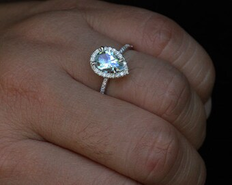 White Gold Aquamarine Pear Engagement Ring with Aquamarine Pear 9x6mm and Diamond Halo in 14k White Gold