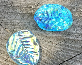 Vintage German Pressed Glass Leaves Artisan Made - 4 Pieces - #210