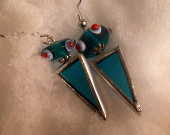 Triangular Blue stained Glass Earrings with Glass Bead