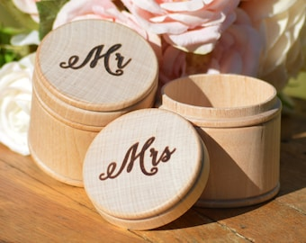 Mr and Mrs ring boxes, rustic wedding ring boxes, Bride and Groom ring bearer pillow alternative, set of 2, shabby chic wedding