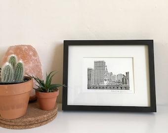 San Francisco Ferry Building, Framed Letterpress Print