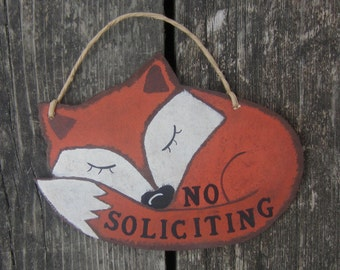 No Soliciting Sign FOX - Hand Painted Wood