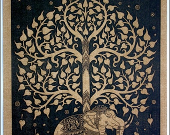 Thai traditional art of Bodhi tree by printing on sepia paper.