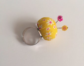 Teeny tiny handmade vintage fabric Pincushion ring