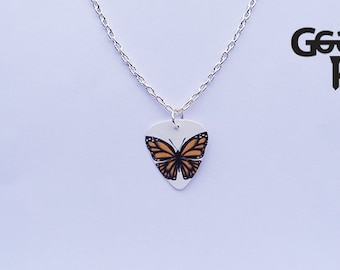 Butterfly plectrum necklace, music, guitar, butterfly, insect, gifts for her