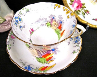 New Chelsea Staffs tea cup and saucer Garden Terrance pattern teacup painted wide mouth
