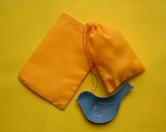"25 Pcs 5"" x 7"" YELLOW Single Drawstring Bag - Muslin Bag - Premium Fabric Bags"