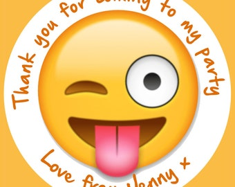 35 Personalised Emoji Wink Tongue Out 37mm Round Stickers labels Party Thank You