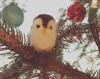 Needle Felted Penguin Ornament