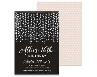 Printable Birthday Invitation | Whimsy Garland Lights | Printable DIY Invite, Affordable Invitation, Digital Invite, Girl's Invite 16th