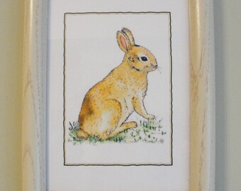 Bunny Rabbit Framed Handpainted Ink Jet Print on Lightly Textured Strathmore Paper.