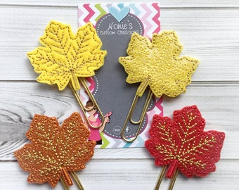 Leaf Paper Clip - Leaf Paperclip - Planner Accessory - Maple Leaf Paper Clip - Leaf Feltie- Planner Paperclips - Fall Paper Clip