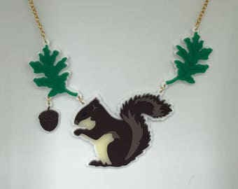 Laser Cut Acrylic Squirrel Necklace - Woodland Creature - plastic jewellery - Statement Necklace - Squirrel