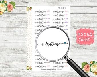 Volunteer Planner Sticker - Volunteer Sticker - BUJO Sticker - Bullet Journal Sticker - Travel Journal - Erin Condren - Happy Planner - S135