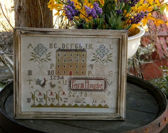 Spring Farmhouse - counted cross stitch PAPER PATTERN - from Notforgotten Farm