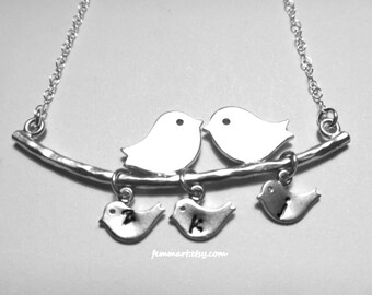 Love Birds Necklace -  Family Bird Initial Necklace - Five Three kids - Personalized -  Birds on Branch -  Mommy Mother's Day Gift