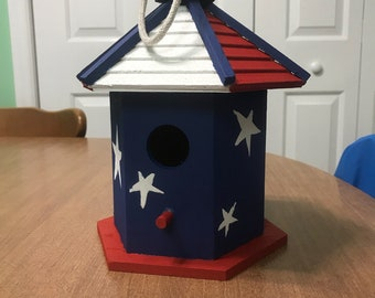 Red White and Blue Birdhouse
