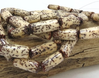 Betel Nut Beads, Natural 16 inch strand, Coated 15x6mm Tube Beads, Wood Beads, Jewelry Making Supplies, Item 874wb