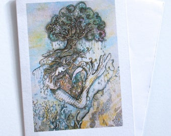 Handmade Mermaid greeting card. Blank card. Hand drawn card. Whimsical card. Pretty Card