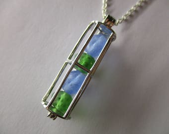 GENUINE SEA GLASS Necklace Sterling Silver Locket Blue Green Beach Found Vintage Beads Real Surf Tumbled Seaglass Pendant Jewelry  N 750b
