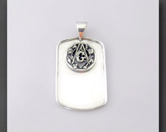 Masonic Dog Tag Des 2 Sterling Silver with Snake Chain