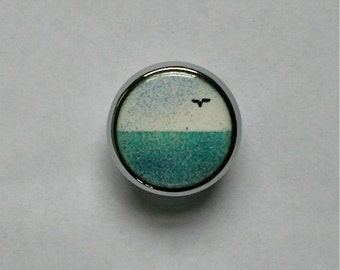 Enameled Cabinet Knobs / Sea at Noon / Pair of Copper Enamel Drawer Pulls