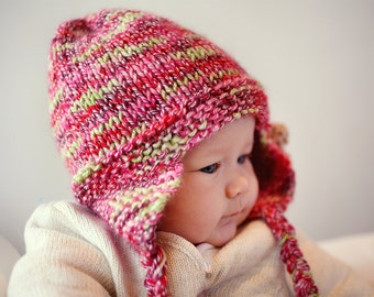 Earflap Hat PDF Knitting Pattern, Hat with Flower, Instant Download PDF Pattern, Baby, Girl and Adult sizes, Baby Hat Pattern - FREYA