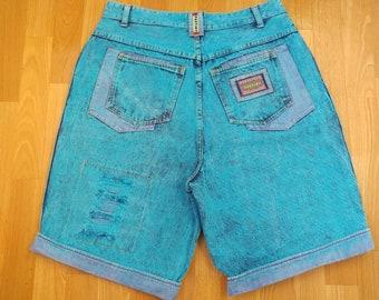 Cartini jeans shorts, neon blue acid wash vintage denim hip-hop shorts, 90s hip-hop clothing, 1990s hip hop shirt, old school rap, size W 36