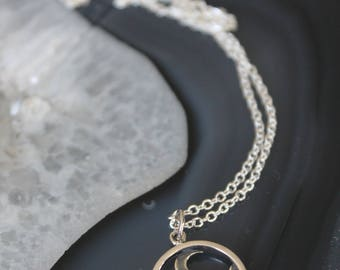 Moon and Cloud Pendant Necklace
