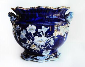 Antique Cobalt Blue Etruria Jardiniere 2567 Morning Glories Open Scrolled Handles Gilt Highlights