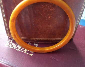 Vintage faux amber bangle, approx 1970