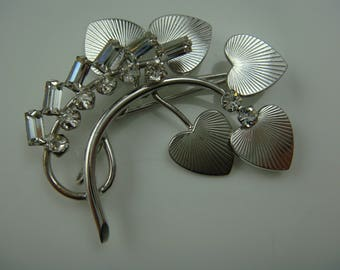 Signed Vintage Carl Art CA Heart Rhinestone Flower Spray Sterling Silver Pin Brooch