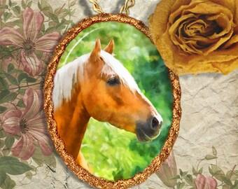 Palomino Horse Jewelry Pendant - Brooch Handcrafted Ceramic