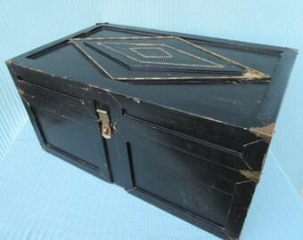 Vintage,heavy,medium,large,black & gold,wood,chest,trunk,brass,metal detail,locker,crate,box with handles,storage,man cave,boys room,garage