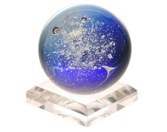 The Eternal Orb, Cobalt Blue- Memorial Keepsake handcrafted with Pet Cremation Ashes by Grateful Glass