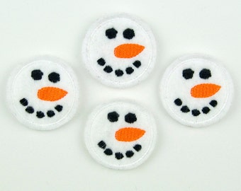 SNOWMAN FACE - Embroidered Felt Embellishments / Appliques - White  (Qnty of 4) SCF4090