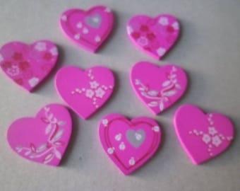 x 8 wooden hearts embellishments painted fuchsia flower stick 3 x 3 cm
