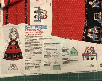 Daisy Kingdom Raggedy Ann Back to School Jumper Panel.  Child Size 2, 4, 6
