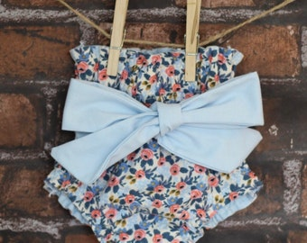 Baby Bloomers | Floral Diaper Cover |  Bloomers | High-Waisted Baby Bloomer | Retro Baby Bloomer | Baby Bloomer with Sash | Baby Shorts