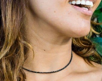 Black Spinel Necklace - Black Spinel Choker - Gemstone Necklace - Layering Necklace - Minimalist Jewelry - Everyday Necklace - Beaded Choker