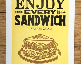 ENJOY EVERY SANDWICH letterpress poster