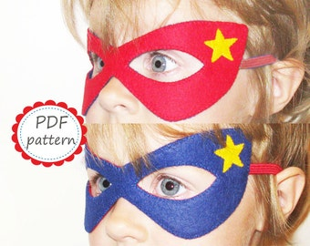 PDF PATTERN: reversible Superhero felt mask DIY craft project Red Blue superman comic costume for boy girl adult - Dress up play accessory
