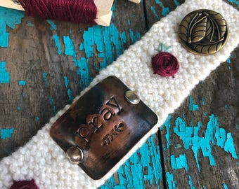 Scripture Bracelet, Hand Embroidered Prayer Bracelet, Christian Prayer Bracelet, Custom Hand Stamped Cream White Bracelet